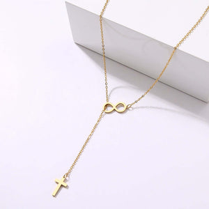 Cross Pendant Long Necklace infinity charm For Women Stainless Steel Jewelry