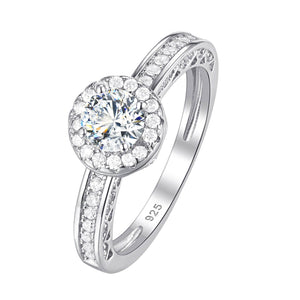 Cubic zirconia ring 2 Pcs Set Solid 925 Sterling Silver 1.6 Ct Round AAA - WISHKAA.COM