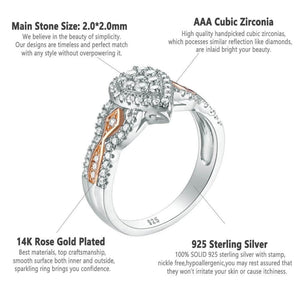 Pear shaped cubic zirconia ring 925 Sterling Silver 1.3 Ct AAA CZ 3Pcs - WISHKAA.COM