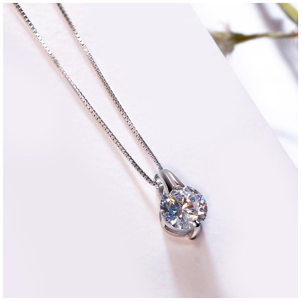 925 sterling silver necklace with Round Cubic Zirconia Fashion Pendant for Women