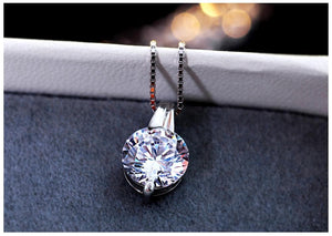 Sterling silver necklace Cubic Zirconia pendant jewelry for women - WISHKAA.COM