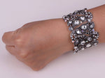 Load image into Gallery viewer, Crystal Stretch Bracelet Flower Women Fashion Jewelry Black Gold Silver Color