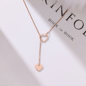 Heart Pendant necklace Stainless Steel Rose Gold charm For Women