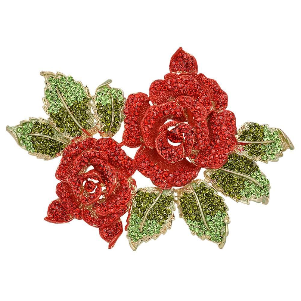 Rose Flower Brooches For Women Red Crystal Pin Sweather Party Jewelry Gift