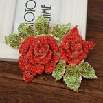Load image into Gallery viewer, Rose Flower Brooches For Women Red Crystal Pin Sweather Party Jewelry Gift