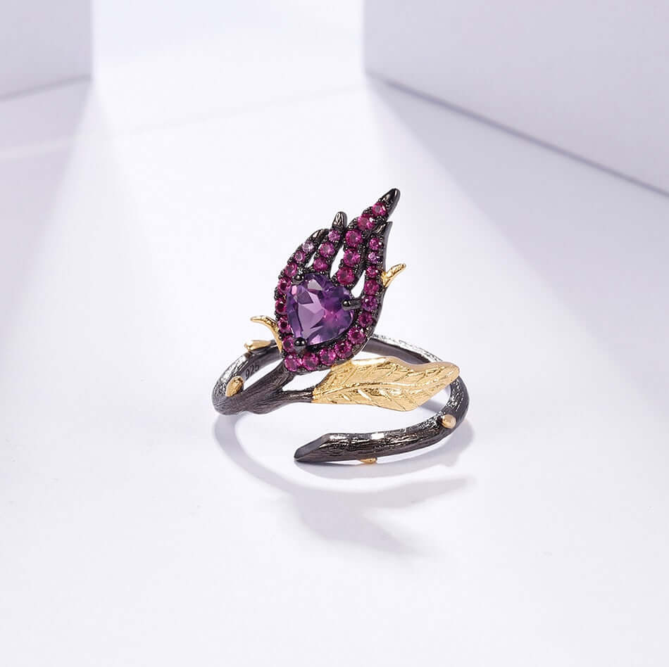 Enggagement ring Amethyst 18k Gold Over 925 sterling Silver Handmade jewelry - WISHKAA.COM