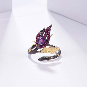 Enggagement ring Amethyst 18k Gold Over 925 sterling Silver Handmade jewelry
