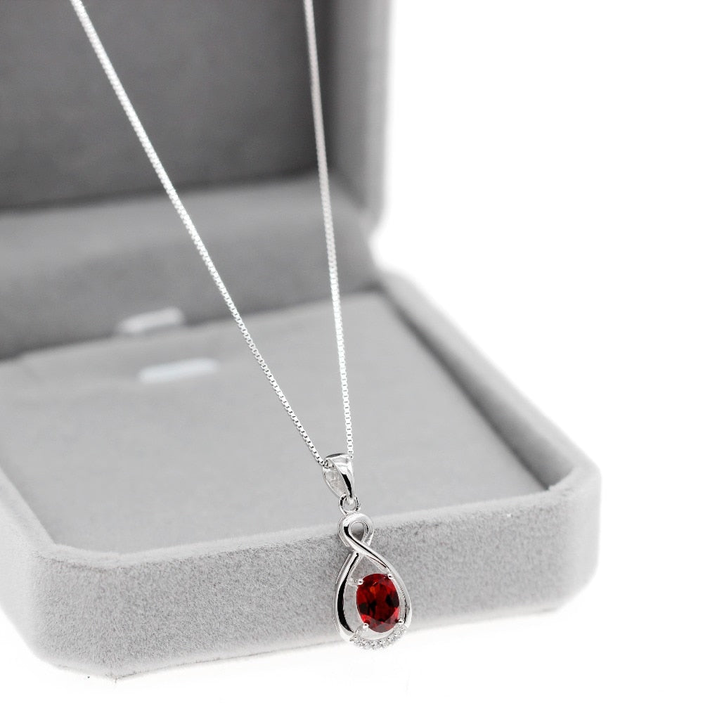 Necklace pendant Natural Garnet 925 Sterling Silver 5*7mm Birthstone Gemstone Wedding Jewelry