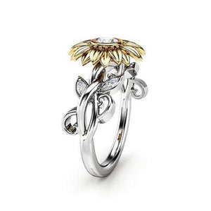Sunflower Ring 925 Sterling Silver Two Tones Fine Jewelry - WISHKAA.COM