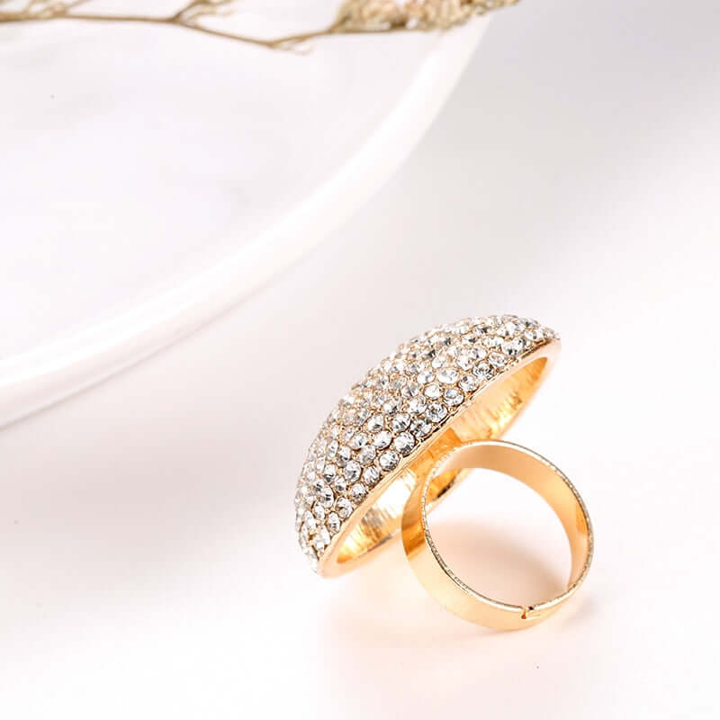 Cocktail Ring AB White color Crystal adjustable Ring