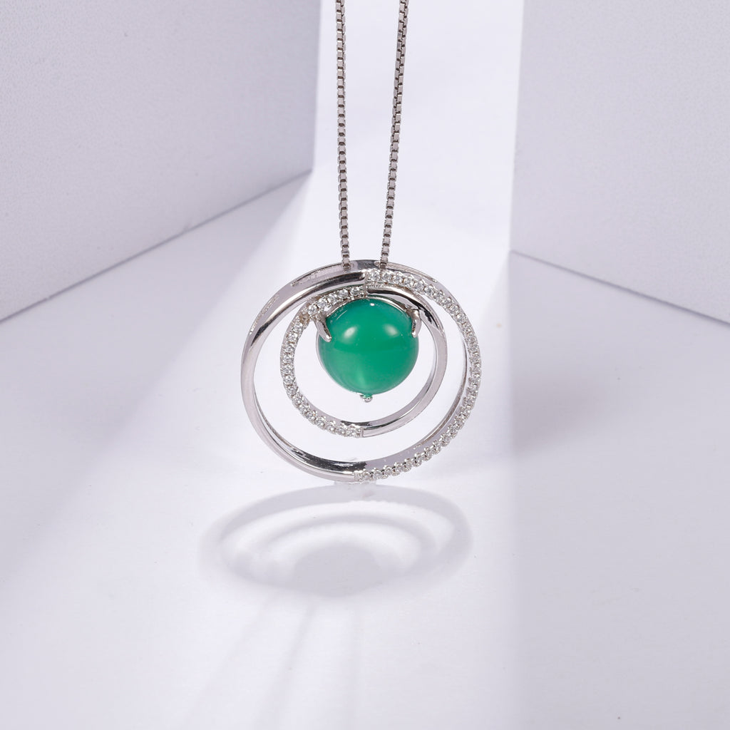 Shiny Pendant Green Agate Gemstone 925 Sterling Silver Necklace For Women - WISHKAA.COM
