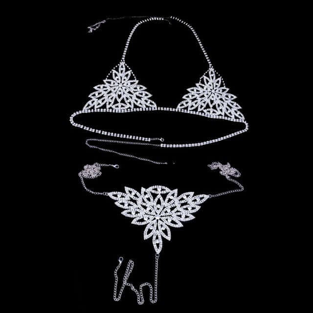Body jewelry Rhinestone Crystal Bikini Thong Chain Set for Women