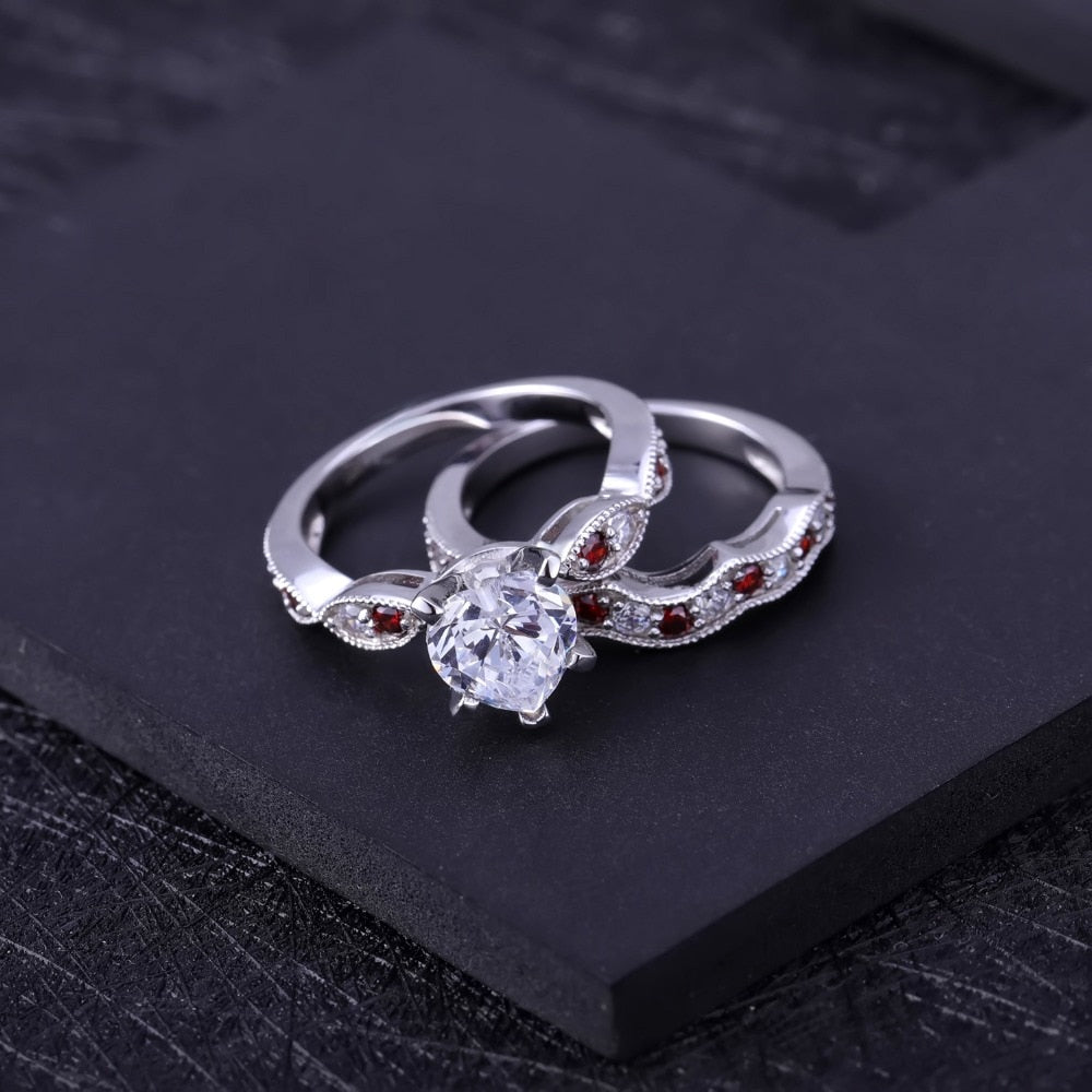 Wedding Ring Set 925 Sterling Silver Pave Simulant Diamond Fine Jewelry