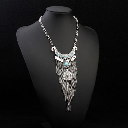 Long Tassel Necklace Oxidized Ethnic bohemian Statement jewelry - WISHKAA.COM