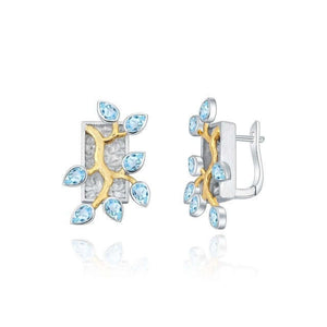 Earrings BlueTopaz 18k gold over 925 sterling silver two tone Handmade women jewelry - WISHKAA.COM