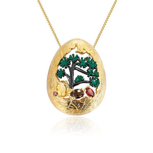 Pendant Necklace 925 sterling Silver 18K Gold Plated natural Gemstone jewelry - WISHKAA.COM