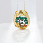 Load image into Gallery viewer, Pendant Necklace 925 sterling Silver 18K Gold Plated natural Gemstone jewelry