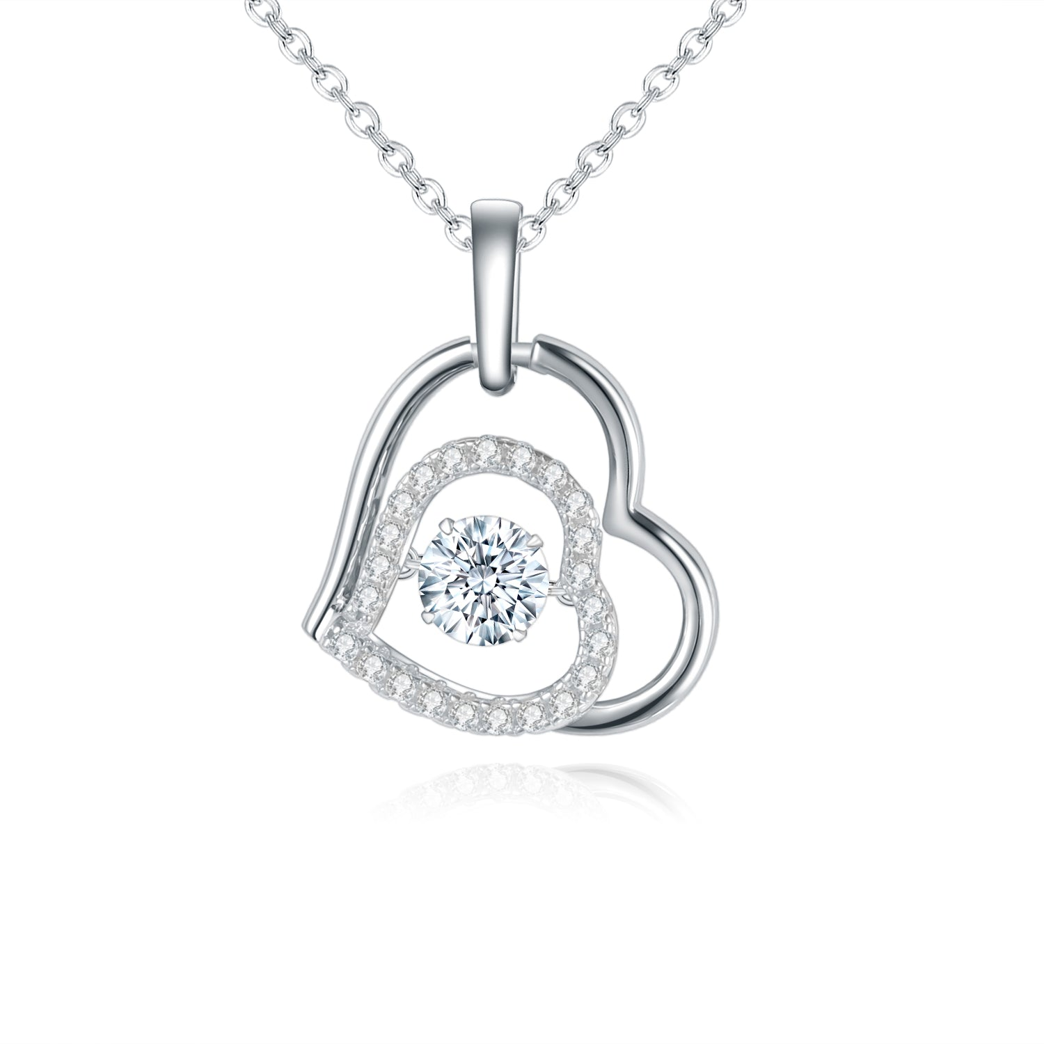 Heart Pendant Necklace Moissanite 5.0mm 0.5Ct 925 Sterling Silver - WISHKAA.COM