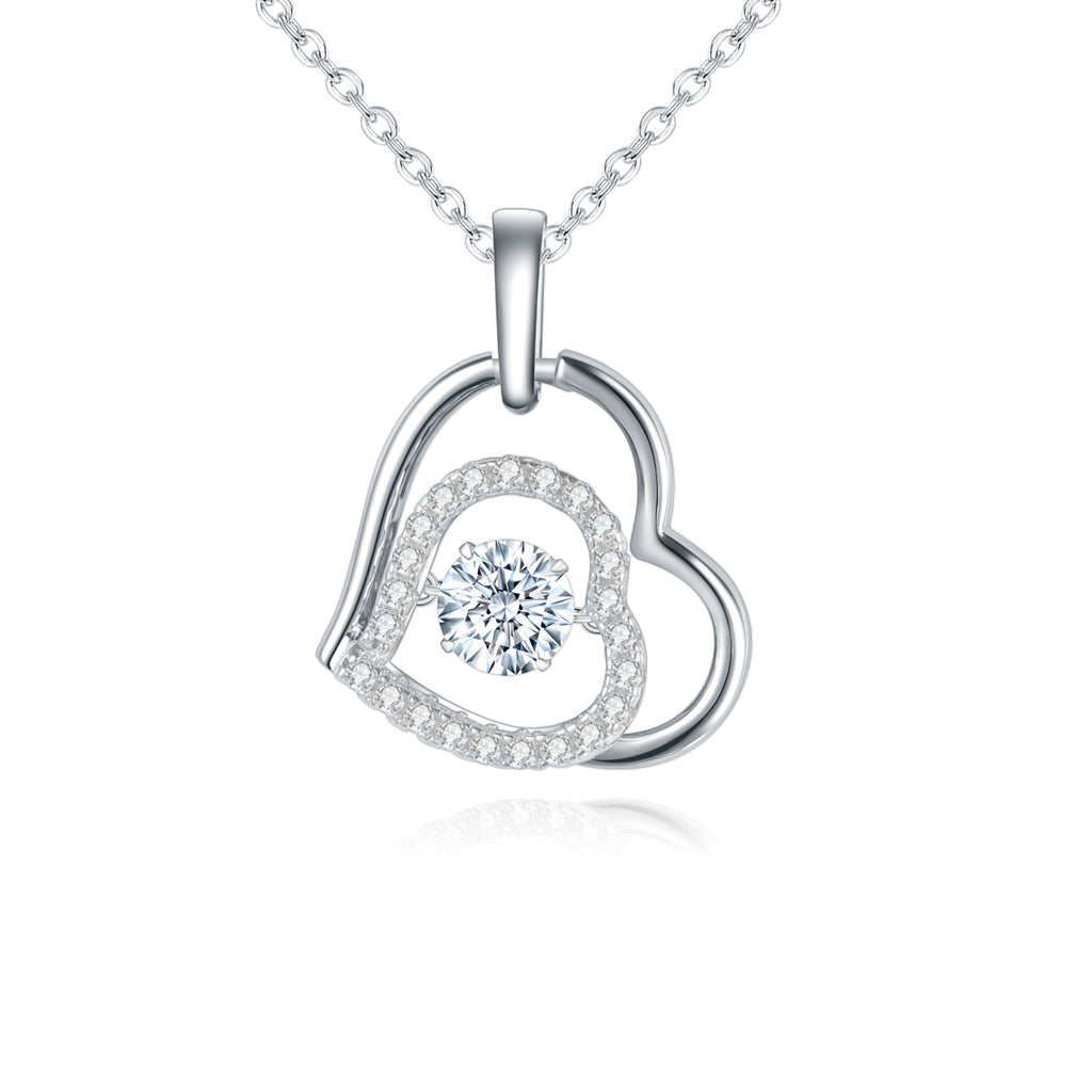 Diamond Heart Pendant Necklace Moissanite 5.0mm 0.5Ct 925 Sterling Silver - WISHKAA.COM