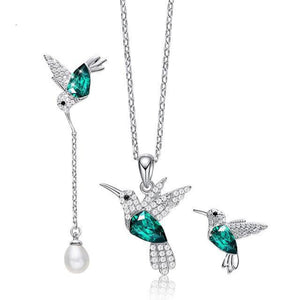 Necklace Earrings Set 925 Sterling Silver Hummingbird Charm Jewelry Set for Women - WISHKAA.COM