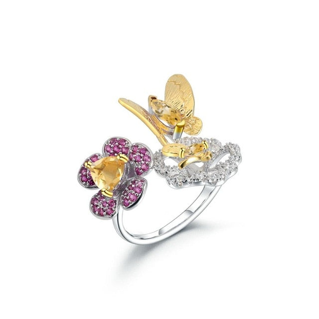 Ring Garnet natural Gems 925 Sterling Silver Butterfly Adjustable Women Ring