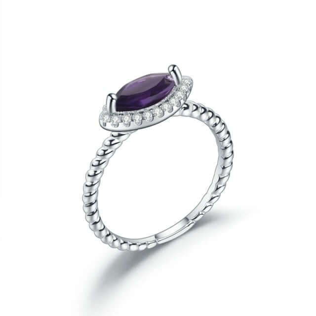 Halo Ring natural Gemstone Sapphire Topaz Amethyst 925 Sterling Silver Jewelry