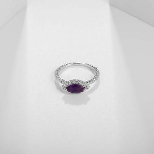 Halo Ring natural Gemstone Sapphire Topaz Amethyst 925 Sterling Silver Jewelry - WISHKAA.COM