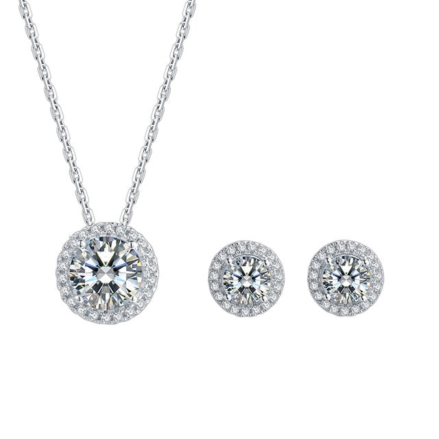 Necklace earring Moissanite 925 Sterling Silver Wedding Jewelry - WISHKAA.COM