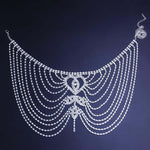 Load image into Gallery viewer, Bridal crystal hair accessor Rhinestone Forehead Jewelry Indian Headpiece for Women - WISHKAA.COM