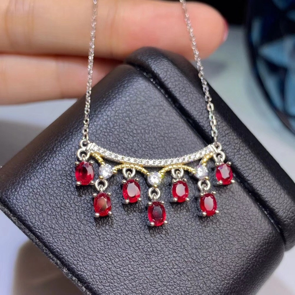 Necklace Natural Red Sapphire Gemstone 2 Tone 925 Sterling Silver Crown Pendant for Women