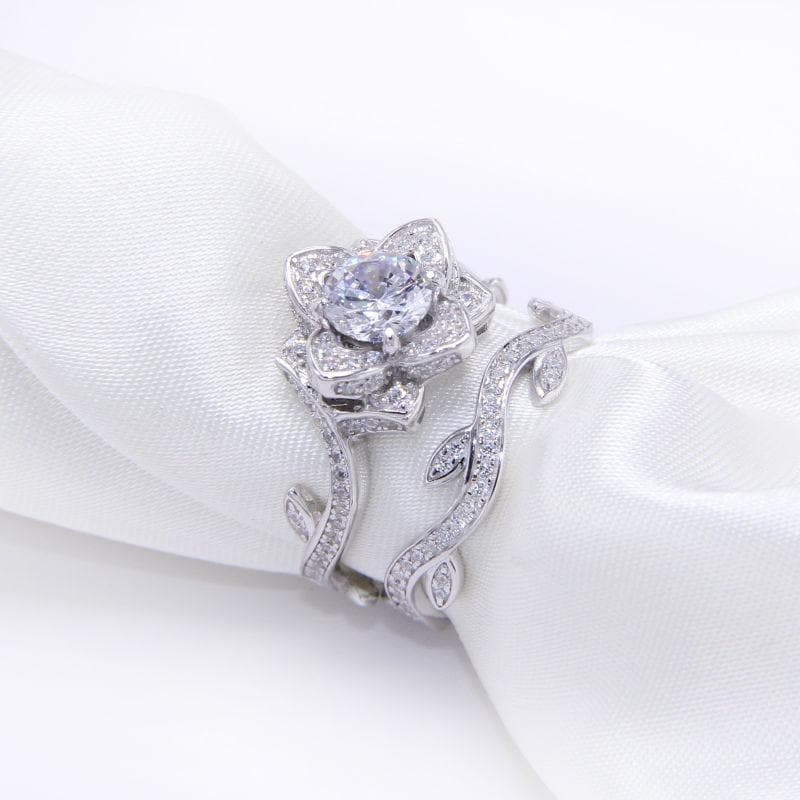 2.3 Carats Flower Shape 925 Sterling Silver Wedding Ring Set  Engagement Band Classic Jewelry For Women