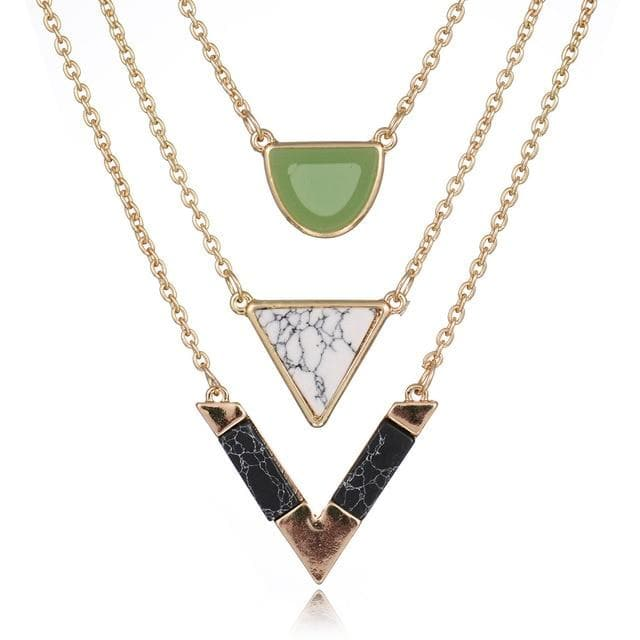 V-shaped triple layerd multicolored Necklace Pendants Women fashion Jewelry - WISHKAA.COM