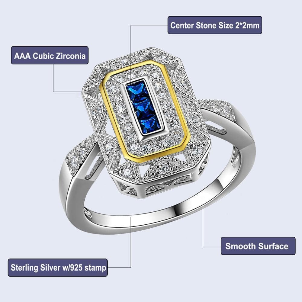 Wedding Ring Solid 925 Sterling Silver White & Gold Color Plated Blue Zirconia For Women - WISHKAA.COM