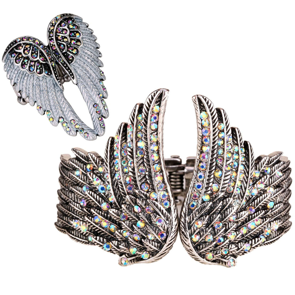 Angel Wing cuff Bracelet & Ring Sets Women Crystal Fashion Jewelry Gifts for Her