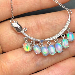 Wedding Necklace Natural Fire Opal for Women 925 Sterling Silver Gemstone Jewelry