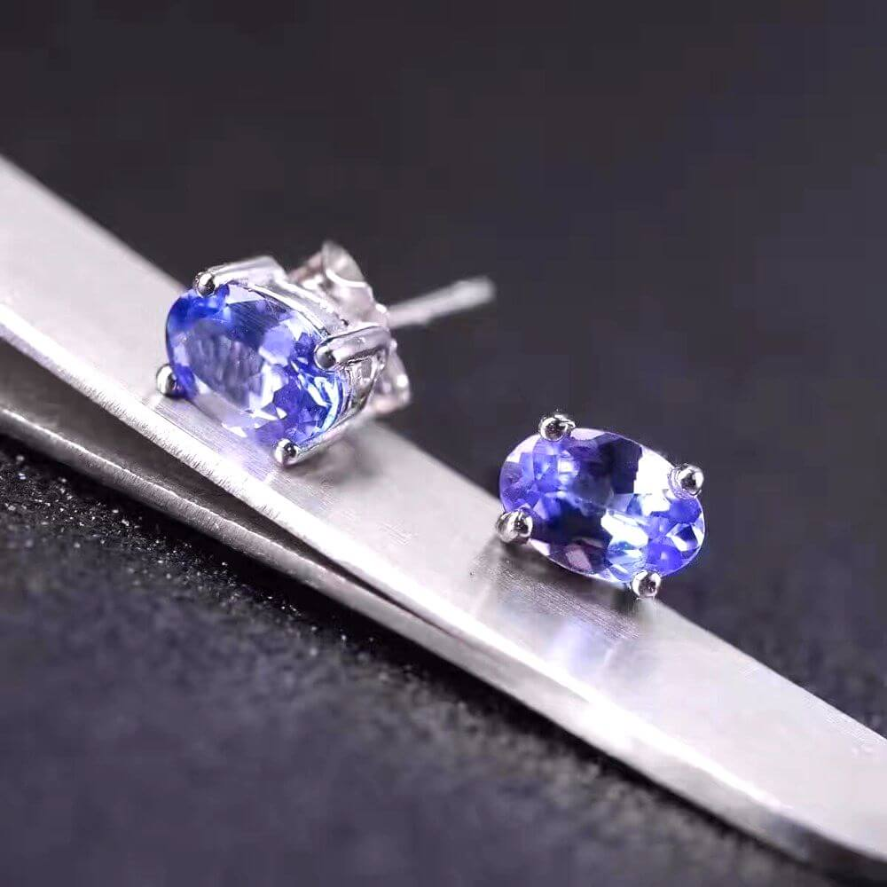 Earrings Tanzanite Natural Gemstone 925 Sterling Silver Wedding/Engagement Jewelry