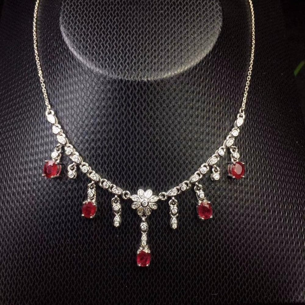 Necklace Birthstone Ruby 925 Sterling Silver Choker wedding jewelry for Women - WISHKAA.COM