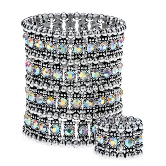 Multilayer stretch cuff bracelet ring set wedding women jewelry gifts