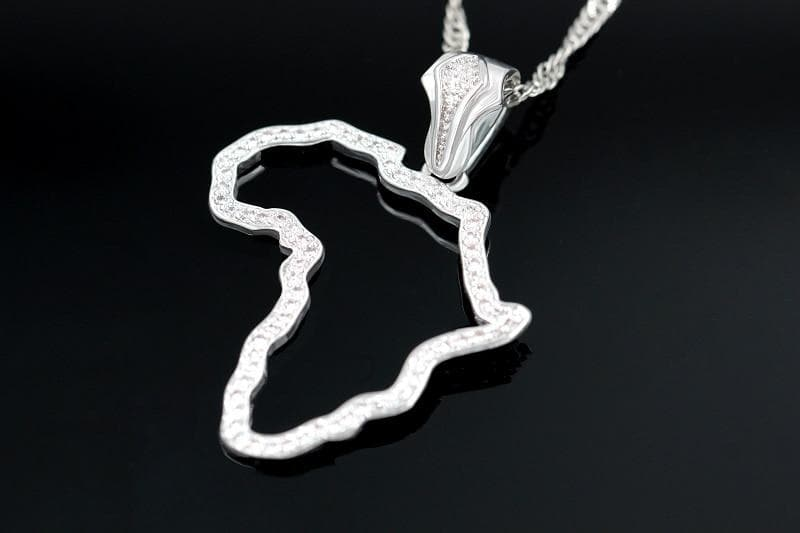 Africa Map Necklace with Pendant platinum plated
