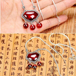 Load image into Gallery viewer, Red Garnet Pendant Zircon 925 Sterling Silver Necklace Women Vintage Ethnic Jewelry