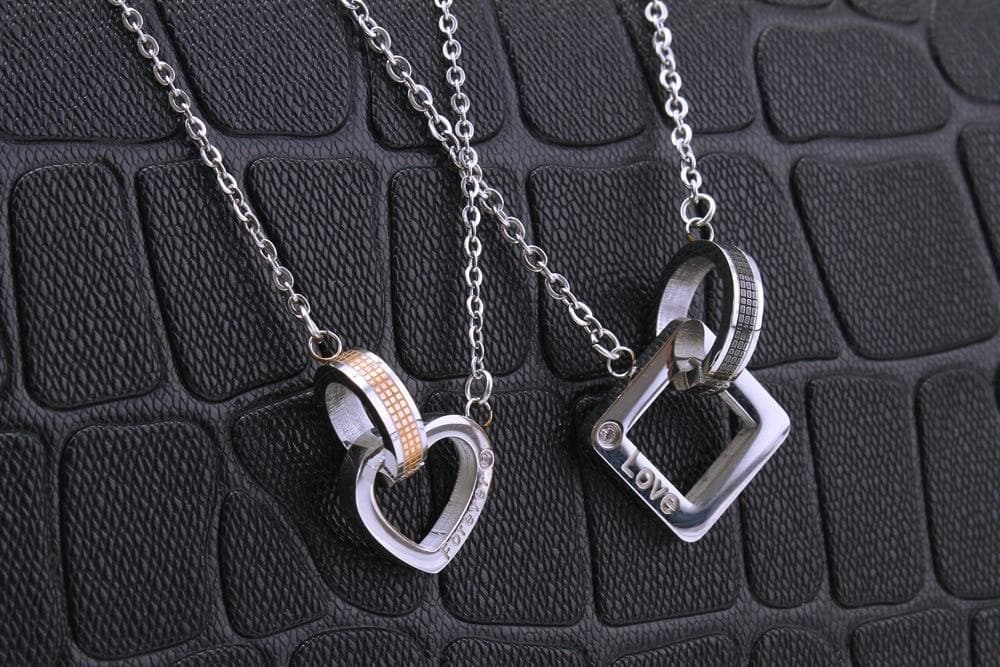 Couple Necklace Heart & Square Pendants Men,Women Valentines Day Gift - WISHKAA.COM