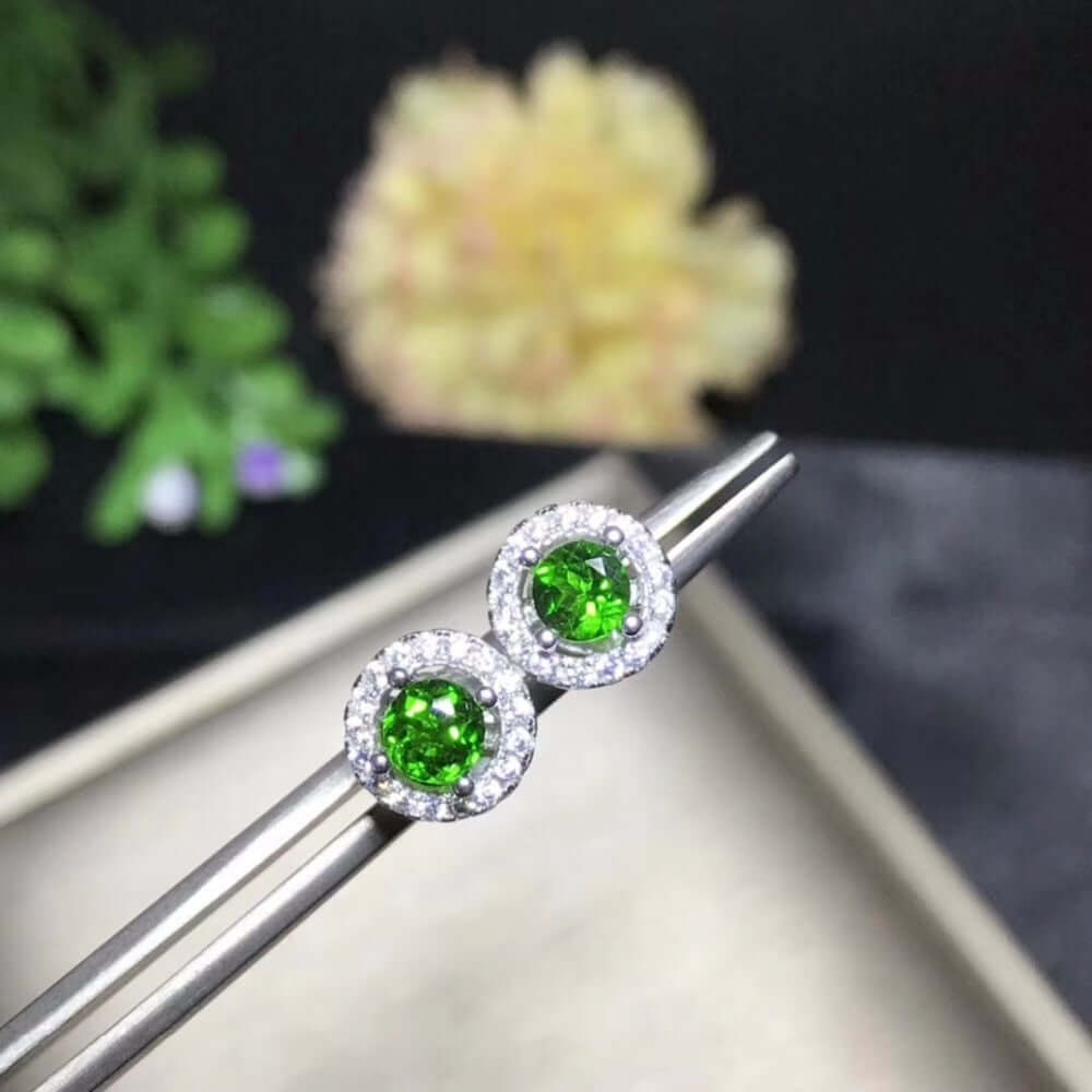 Earrings for Women 925 Sterling Silver 4*mm*2 PC Natural Gemstone Wedding Jewelry - WISHKAA.COM