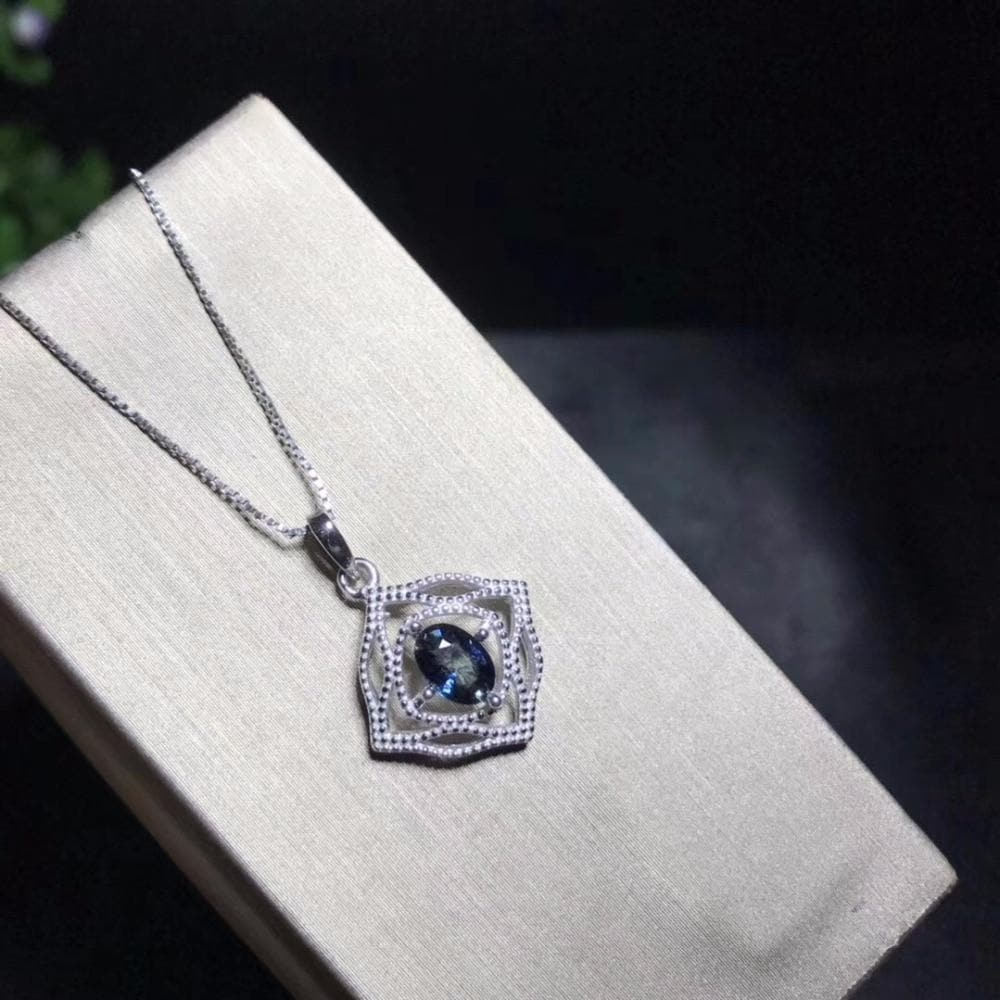 925 Sterling Silver with SAPPHIRE Birthstone pendant Necklace for Women with Certificate