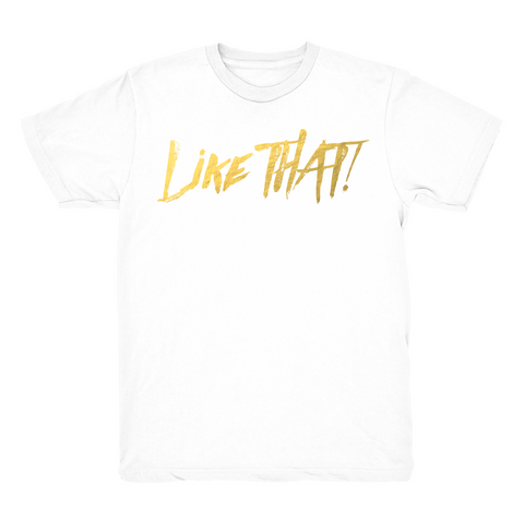 THAT! V2 White T shirt GOLD Text