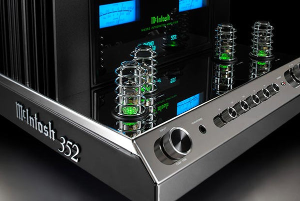 McIntosh MA352 blue meters and tubes reflecting.