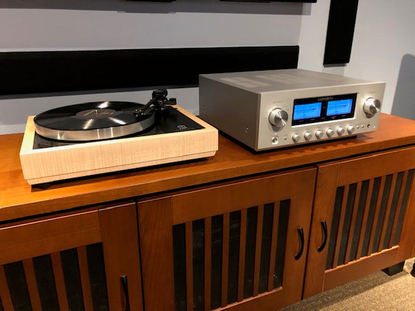 Linn LP12 Karousel with Woodsong Plinth and Luxman L-505