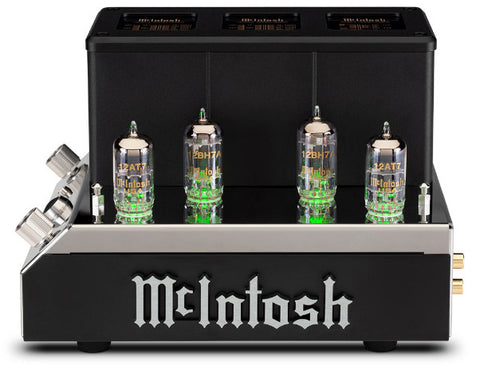 McIntosh MHA200 Headphone Amplifier Front View McIntosh Logo Vacuum Tubes