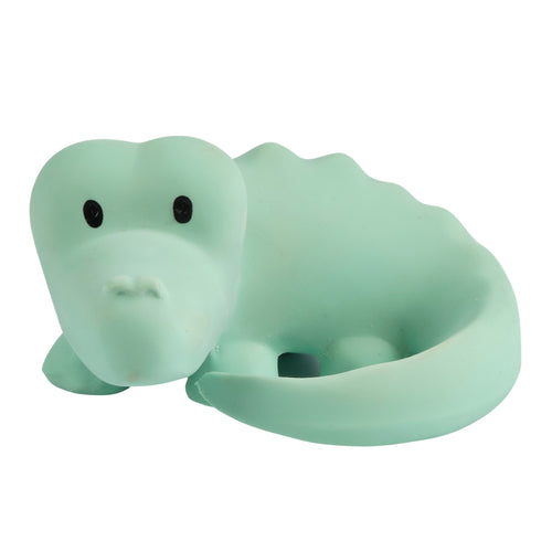 Crocodile natural rubber baby teether rattle and bath toy