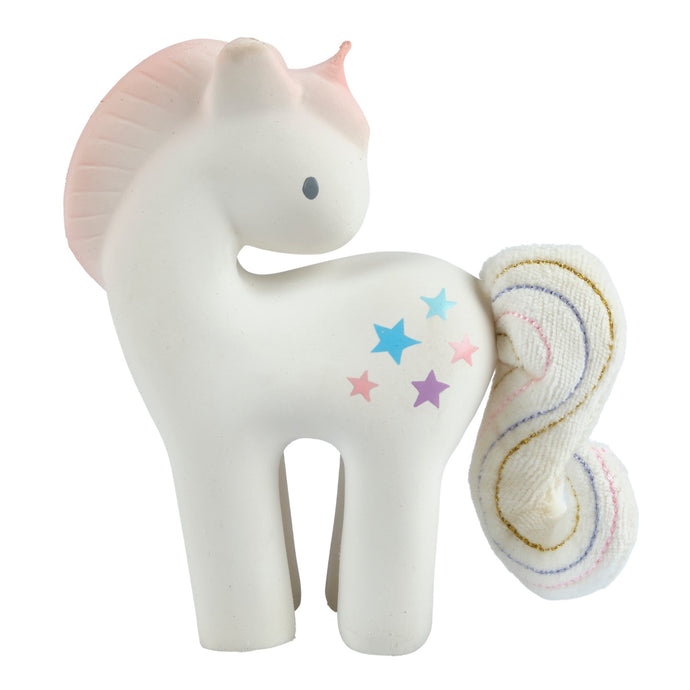 cotton candy unicorn rubber baby teether and rattle toy