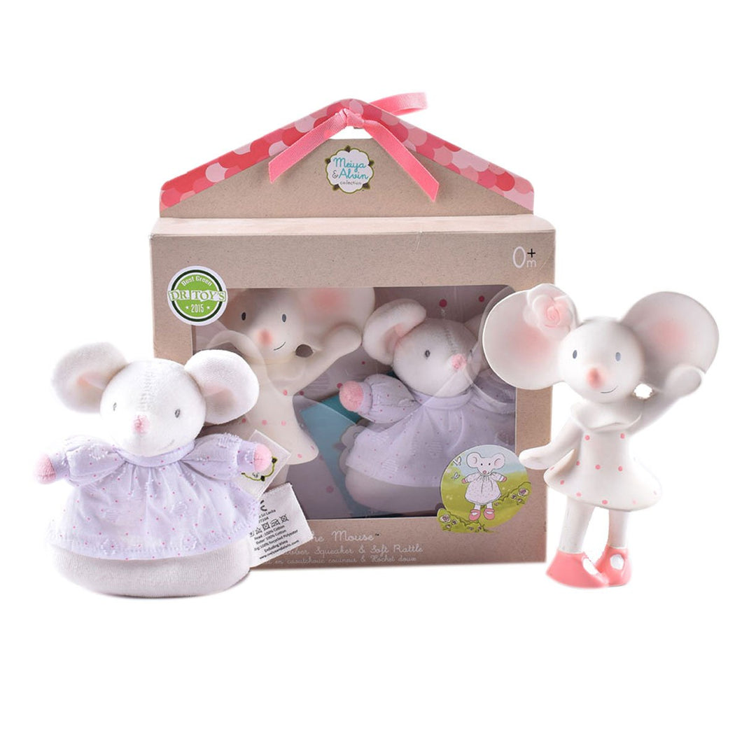 Meiya The Mouse All Rubber Squeaker Toy With Soft Head Rattle As A Gift Set - Tikiri Toys